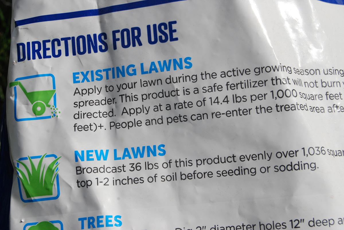 Directions on Fertilizer Bag
