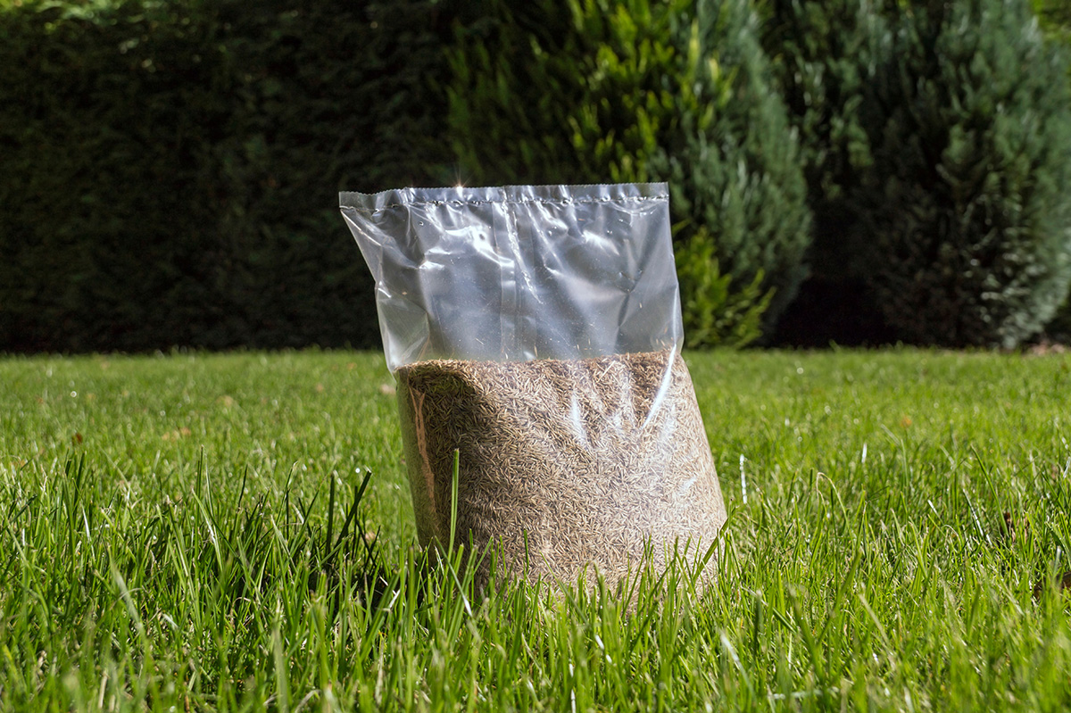 Grass seed bag sitting on a lawn