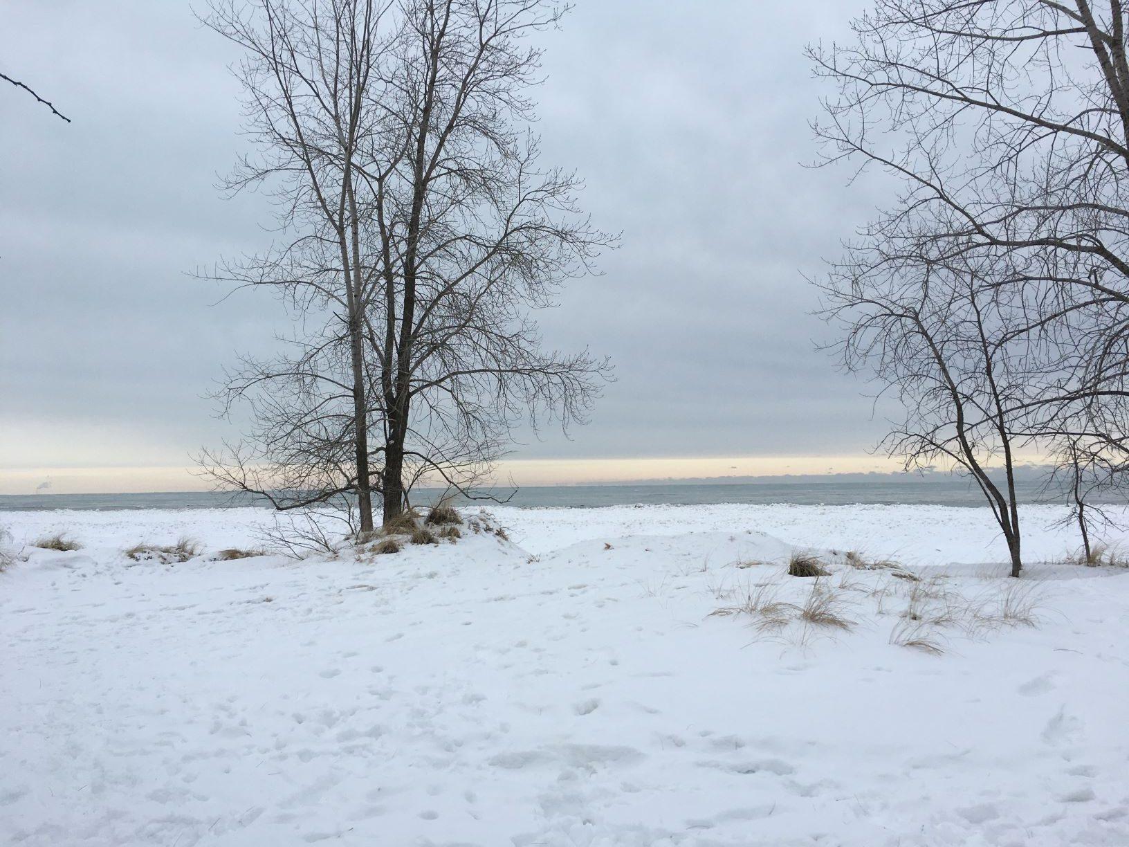 snow along lake Michigan